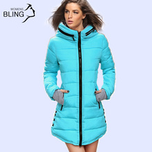 Warm Winter Jackets 2016 Women Fashion Down Cotton Parkas Casual Hooded Long Coat Thickening Plus Size Parka Zipper Cotton Slim