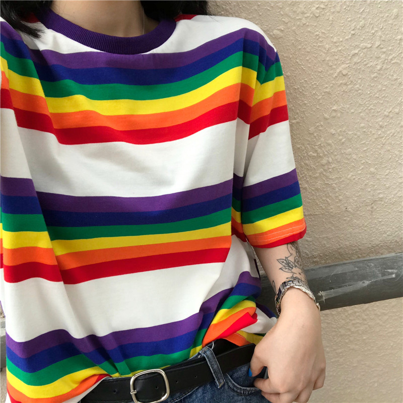 c124c0c7ccec Japanese Chic Style Summer Women Kawaii Hit Color Rainbow Tops T shirts  Harajuku Girls Casual Loose Striped O Neck T shirt Tee-in T-Shirts from  Women s ...