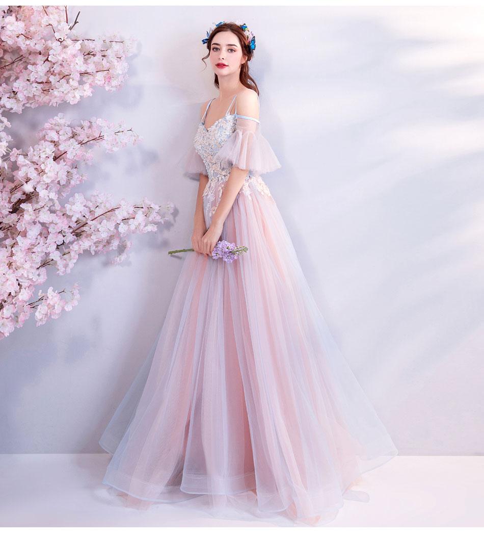 Elegant Off The Shoulder Tulle Long Bridesmaid Dress 10