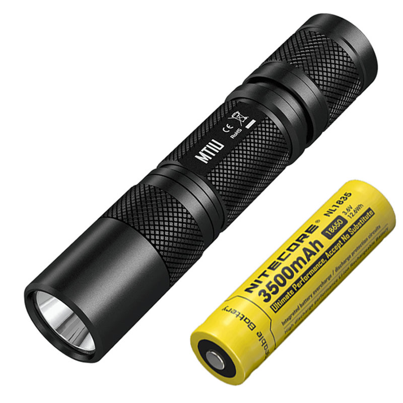 NITECORE MT1U ultraviolet LED 365nm wavelength cold light flashlight UV led torch + 18650 3500mAh rechargeable li-ion battery 2018 nitecore gem8uv professional gemstone identification flashlight uv light 3000mw 365nm diamond amber torch without battery