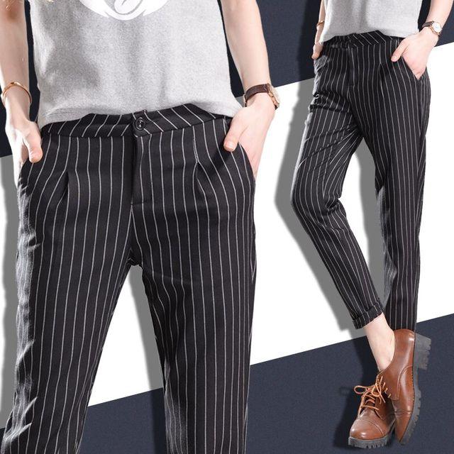 2016 Estilo de Moda Primavera Verão Faixa Vertical Nove Pés Harem Pants Mulheres Calça Casual preto e branco de lazer calças soltas