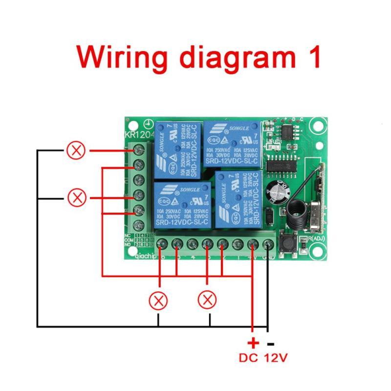 QIACHIP DC 12V 433mhz RF Remote Control Switch 4 CH Relay Receiver ...