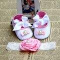 Del bautismo del bautizo zapatos de niña recién nacido diadema set, tela niño del zapato de bebé, zapatillas de suela suave bebé, niñas bautismo zapato