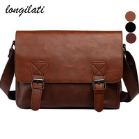 Messenger Bag Men Leather Crossbody Bags Vintage Black Brown Shoulder Bag Flap Casual bolso hombre bolsa masculina sac a main