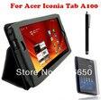 """3in1 комплект для ACER ICONIA TAB A100 A101 7 """" кожа фолио стенд чехол чехол черный новый + протектор экрана + стилус"""