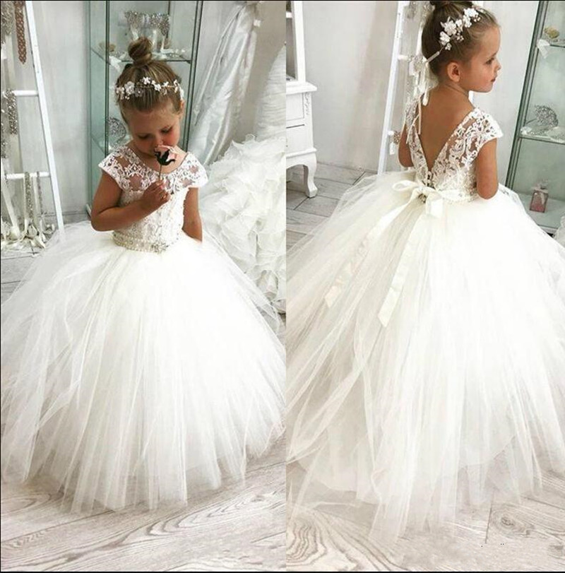 Fabulous Princess   Dress   with Pearls Ribbons V-Back Sexy   Flower     Girl     Dress   for Wedding Tulle Ball Gowns For 2-14 Y Custom Made