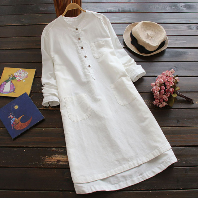 Women Solid Summer Boho Sundress 2019 Sexy Ladies Beach Maxi Shirt Dress Casual Cotton And Linen Clothes Robe Chemise Femme C