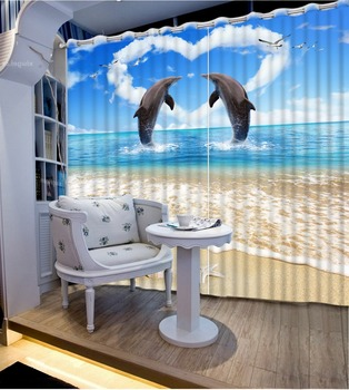 Scenery Beauty Digital Photo Printing Blackout 3D Curtains for Living Room Bedding Room Hotel ocean dolphin curtains