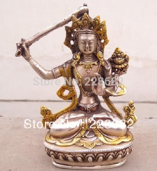 Ev ve Bahçe'ten Statü ve Heykelleri'de Metal El Sanatları çin tibet gümüş beyaz bakır ve yaldızlı Buda heykeli hızlı shiping