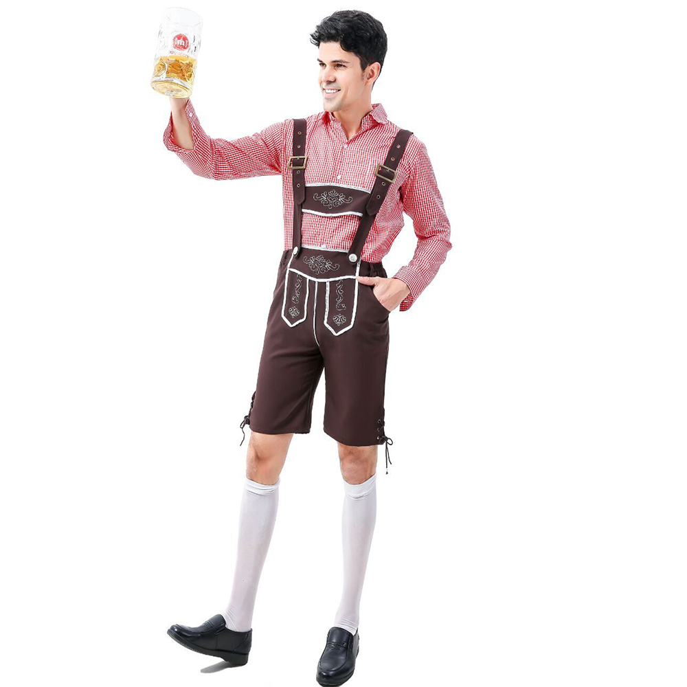 Oktoberfest Costumes Men Pink Top Traditional German Bavarian Beer Male Cosplay Halloween Festival Party Clothes