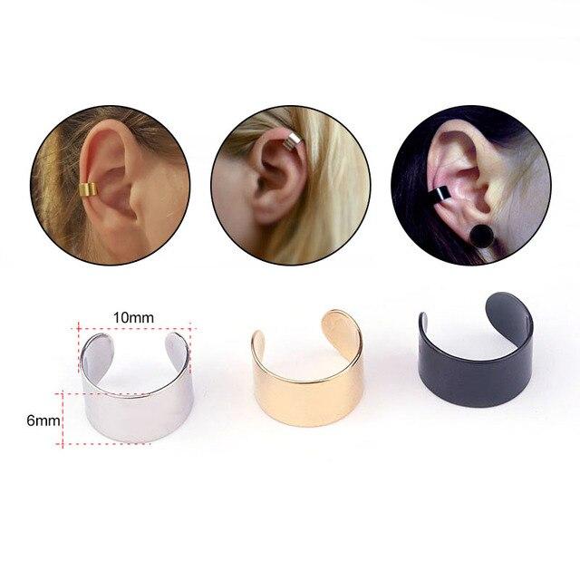 Sellsets 2 pcs Aço Inoxidável Grande Lisa Sem Piercing Cartilagem Cuff Ear Cuff Envoltório Brinco Não Piercing Falso Concha Superior Piercing