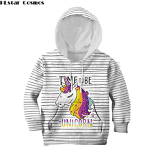 Family matching Children Anime stripe 3d Hoodies Boys Girls Funny Sweatshirts Unicorn print Colorful cartoon Kids Pullovers Tops