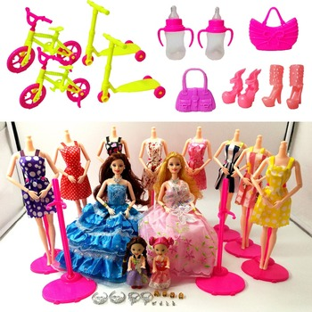 Fashion Doll Barbie Dolls Set 4 Dolls 10 Sets of Dress Clothes DIY Toy For Girls Doll Kids Princess Set Dress as Christmas Gift best girl toys 2017
