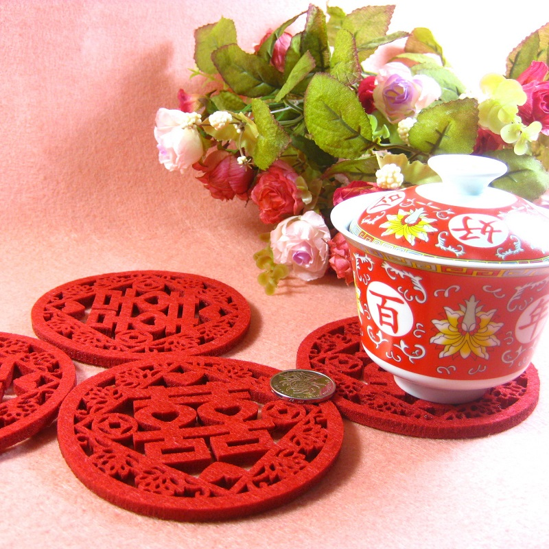 500pcs Traditional Chinese Double Happiness Coasters Non-woven Felt Cup Mats Wedding Table Decoration wen6176