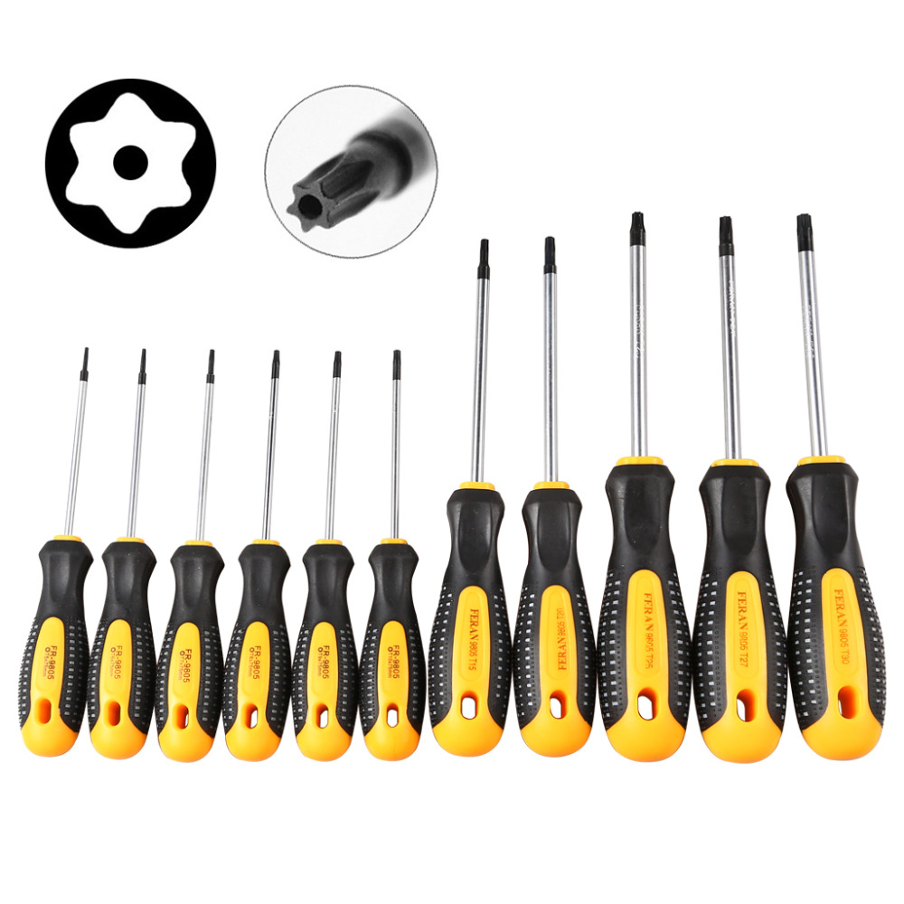 1Set Cr-V Torx Screwdriver Set With Hole Magnetic T5-T30 Screw Driver Set Kit For Telephone Repair Hand Tool Set