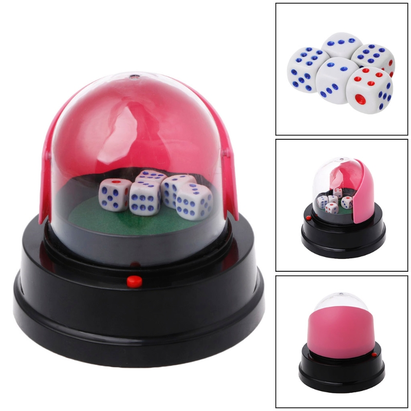 Automatic Dice Roller Cup Battery Powered Pub Bar Party Game Play With 5 Dices