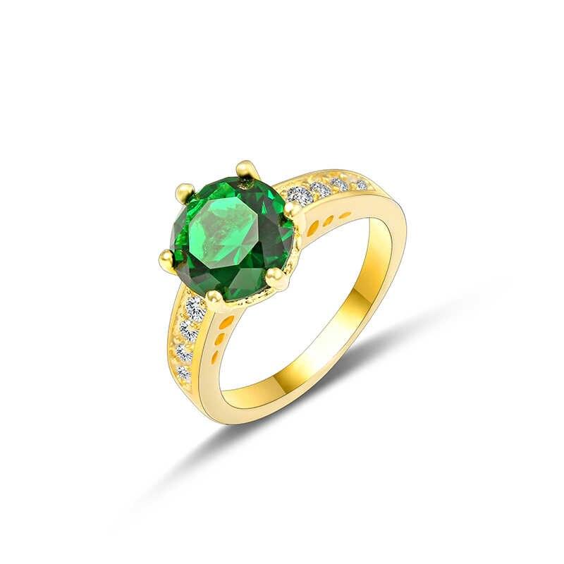 Big Round Blue Zircon แหวนสำหรับหญิงชาย Gold Filled แฟชั่น Wedding Party หมั้นแหวนเครื่องประดับวันวาเลนไทน์