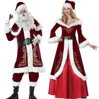Adult Deluxe Men Women Girls Santa Claus Mascot Costume Suits Plush Father Cosplay Christmas Fancy Dress Christmas Gift