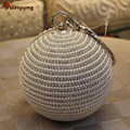 New Round Ball Pearl Beaded Clutch Bags Women Diamond Evening Bags Luxury Full Pearl Tote Bag Wedding Party CrossBody Handbag