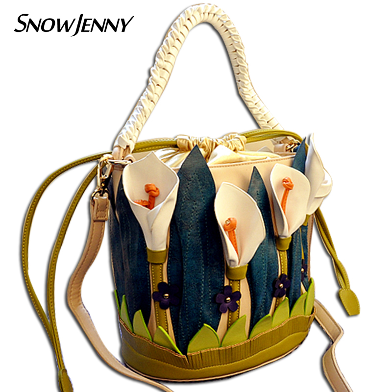 Leather Patchwork Embroidery Handicraft 3D Decorate Lilies Flower Women Messenger Bags Shoulder Bag Female Totes HandbagLeather Patchwork Embroidery Handicraft 3D Decorate Lilies Flower Women Messenger Bags Shoulder Bag Female Totes Handbag