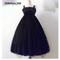 Short Long Gothic Lolita Dresses JSK High Waist Dark Red Black Dress 2017 Cosplay Costumes