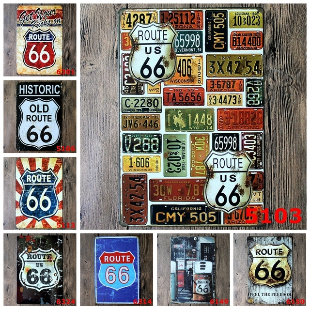 American Historic Old Route 66 Metal Tin Signs Home Decor Wall Art Painting Plaque For Bar