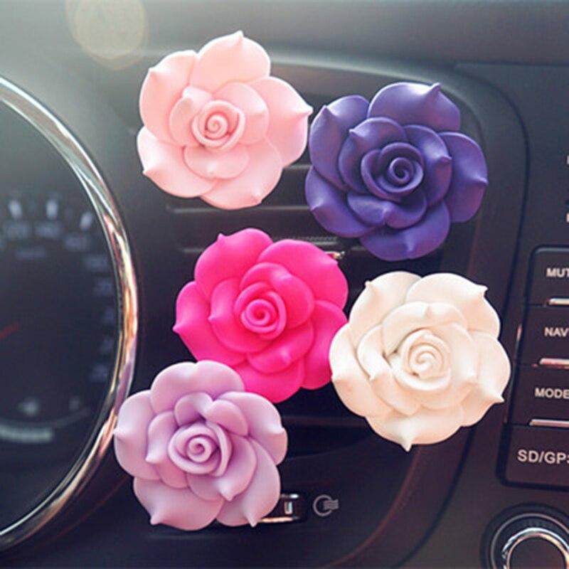 Car Ornament Camellia Perfume Clip Air Freshener Auto Air Condition Vent Perfume Balsam Balm Fragrance Auto Flower Decoration