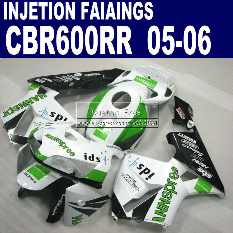 Motorcycle Injection fairings kit for Honda CBR 600 RR fairing CBR 600RR 2005 2006 CBR600RR 05 06 white green HANNSPREE custom injection molding fairings for honda cbr 600 rr 2005 2006 cbr600rr 05 06 black flame in white motorcycle fairing kit