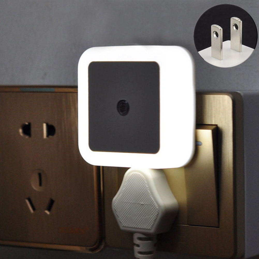 Bedroom Bathroom Practical Durable Plug In Indoor Decor ABS Hallway Home Wall Automatic Night Light Square Shape Motion Sensor