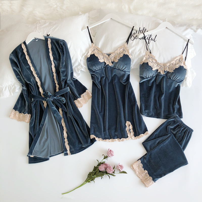 Velvet 4 piece Winter   Pajama     Sets   Ladies Sexy top + long Pants Nighties Nightwear Homewear women robe   set   Sleeveless Nightwear