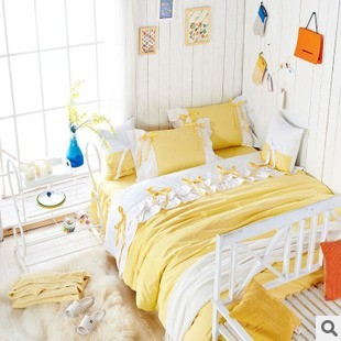 c72a9a5332 Sweet Girl Light yellow white Fairy duvet cover bedding set princess 100% cotton  Lace bed Skirt full queen king size set/B3032