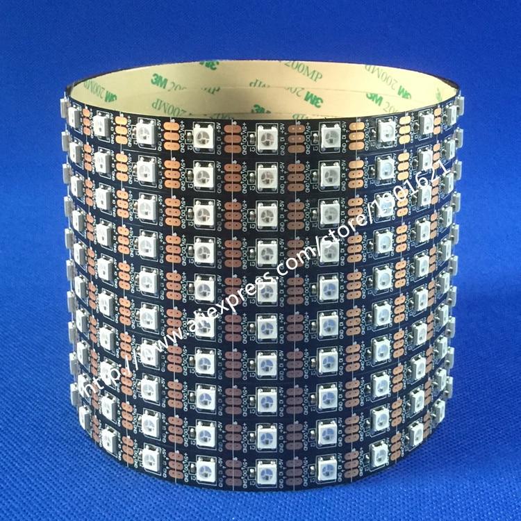 Melns PCB 5M WS2812B LED sloksne WS2812 IC mikroshēma 5050 SMD 60leds / m LED elastīga lente DC5V