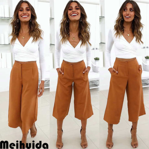 Women's Clothing Pants & Capris Reasonable Retro Hot Women Wide Leg High Waist Girls Pant Casual Crop Pants Summer Loose Soft Trousers Outwear Rich In Poetic And Pictorial Splendor
