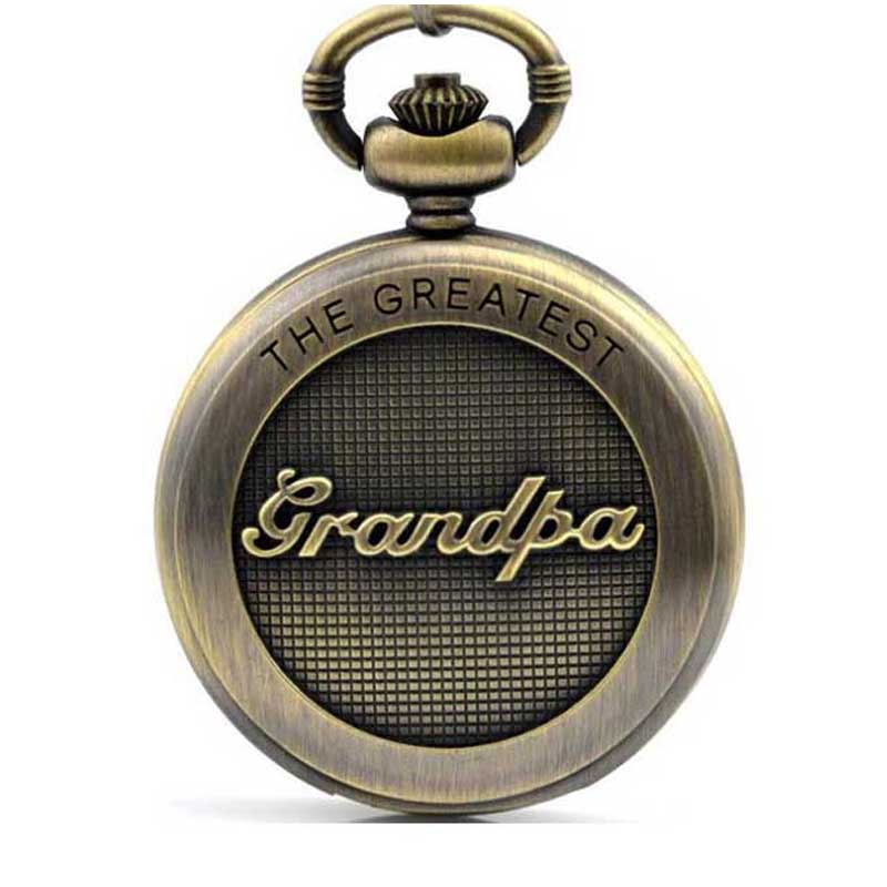 2017 vintage The Greatest Dad Grandpa pocket watch chain pendant quartz pocket watch best gift for dad grandpa unique new bronze dad pocket watch necklace the greatest dad fob father vintage quartz men watches luxury gift relogio de bolso