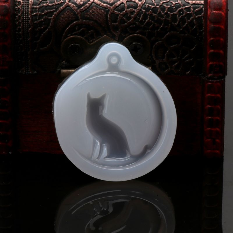 Cat Sit On Moon Charm Pendant Silicone Mold Jewelry Making Resin Casting Mold