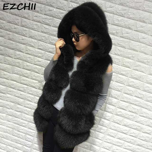 d60bc581c1 Women Faux Fur Vest Thick Warm Fur Casual Women Sleeveless Jacket Wich Fur  Tirm Hood Winter Warm Slim Colete Feminino