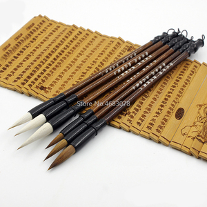 6PCS White woolen brush/Brown Weasel Wool Hair Chinese Japanese Calligraphy Brush Pen Set Art for Office School Darwing Supplies