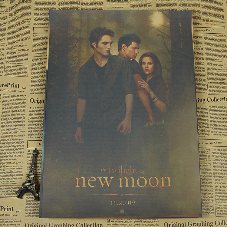 Twilight Chris Teart Robert Pattinson Retro Old Bar Cafe Kraft Paper Poster
