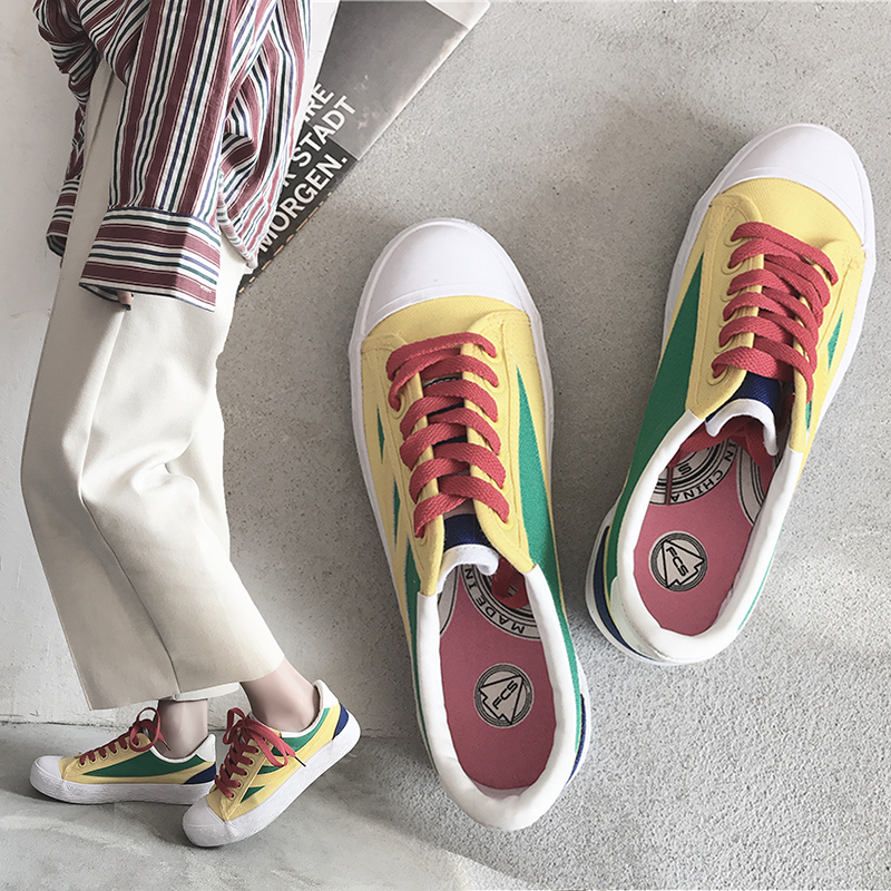 Female Canvas Shoes Preppy Style Fashion Shoes for Spring Autumn Mixed Colors Women Casual Shoes Colorful Sneakers Green 35-40 top quality genuine leather oxfords for women gold sliver mixed colors female british style spring autumn casual flat shoes
