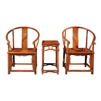 3 Pcs/Set Antique Round Backed Armchair 2 Chairs 1Tea Table Solid Wood Leisure Chair With Ming And Qing Style Hedgehog Rosewood