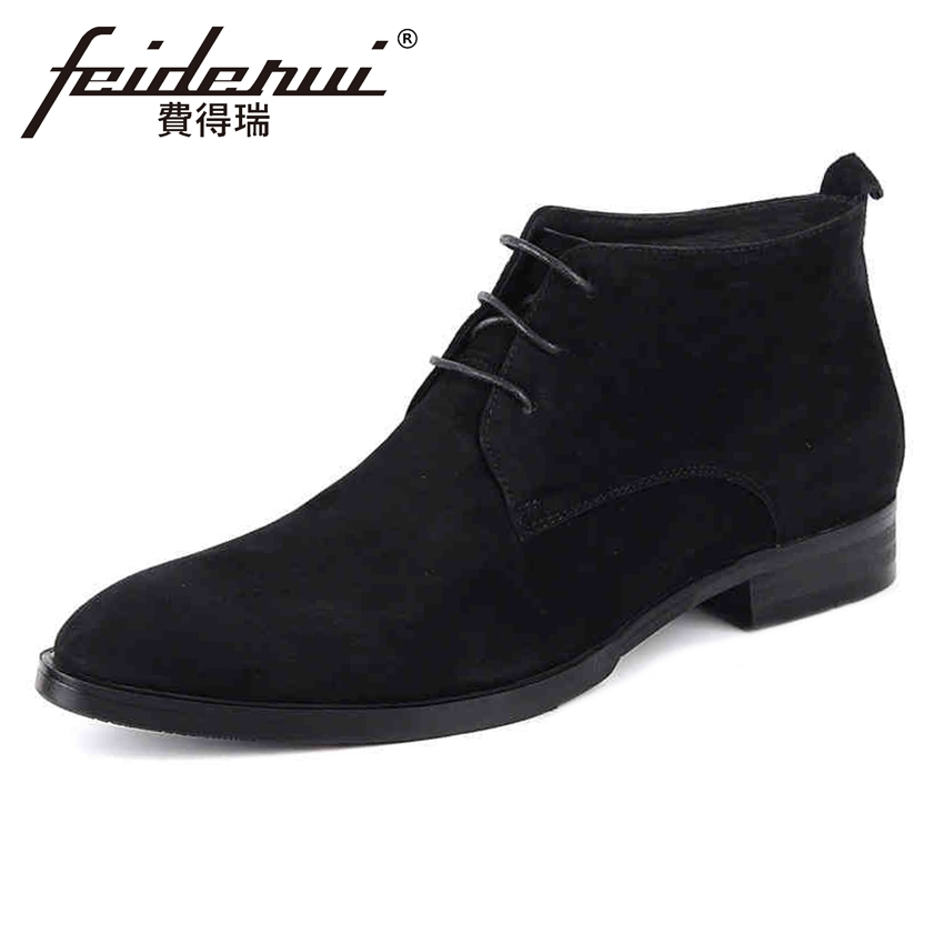 Black Cow Suede Leather Mens  Ankle Boots Round Toe Lace up Handmade Cowboy Riding Formal Dress Shoes For Man YMX24Black Cow Suede Leather Mens  Ankle Boots Round Toe Lace up Handmade Cowboy Riding Formal Dress Shoes For Man YMX24