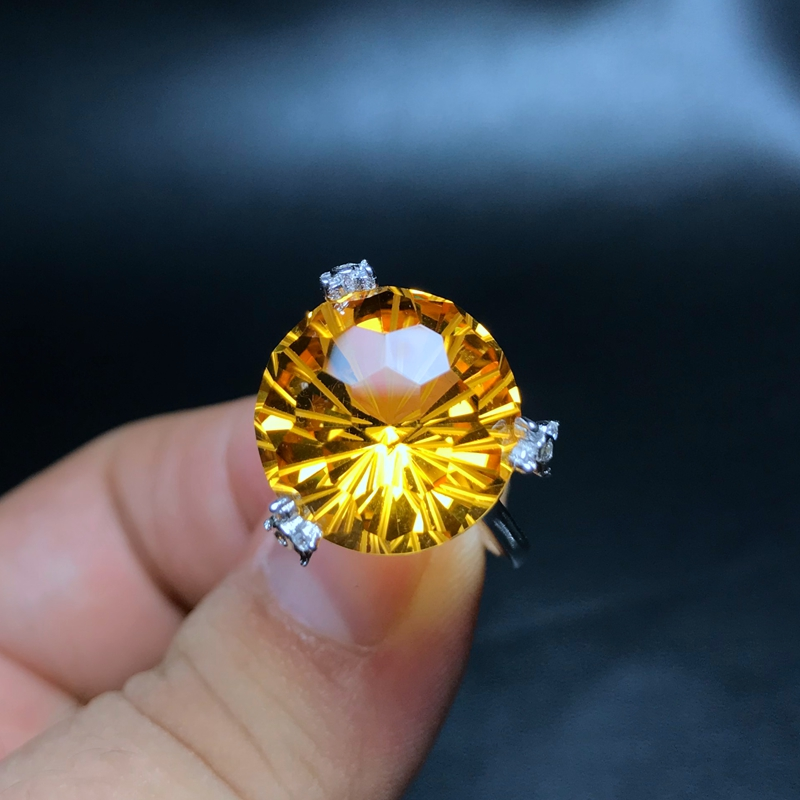 Big grain citrine rings good fire color new product recommendation 925 silver exaggerated style new store