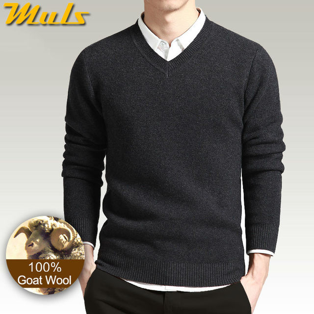 100% Wool sweaters men simple style V neck thick mens sweaters ...
