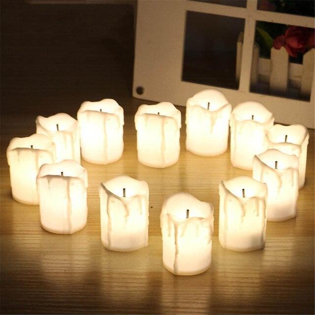 12pcs/lot Tear Shaped LED Candle Light Romantic Wedding Plastic Eyedrop  Candle Fantasy Festival Decor Night Light