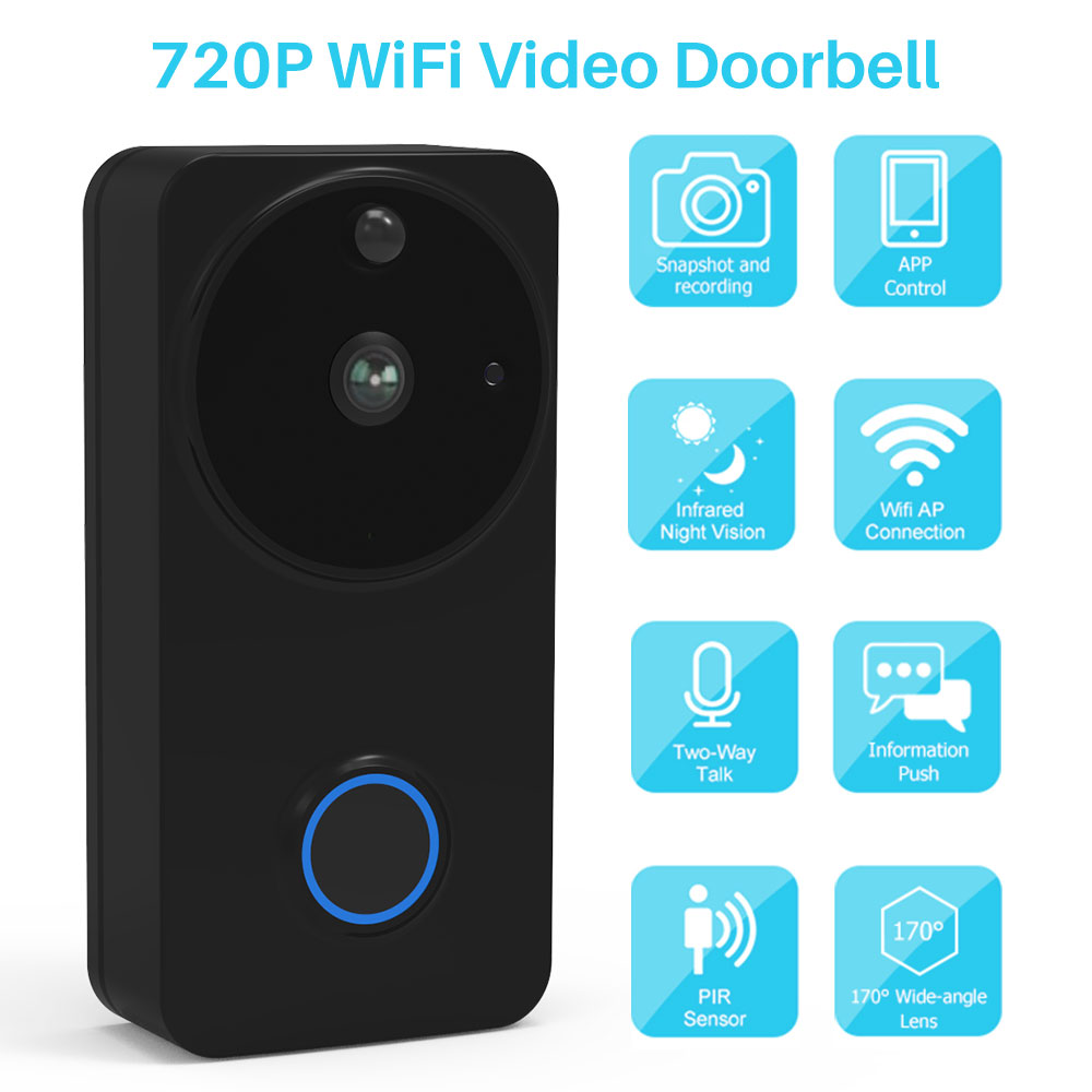 Video Doorbell Wireless WiFi Door Bell Two-Way Video Intercom PIR Monitor Alarm Recording Remote Home Monitoring By Smartphone