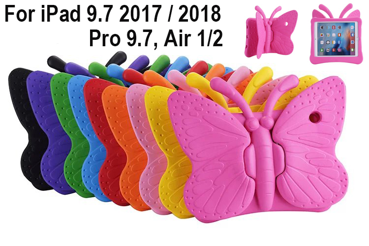 EVA shockproof Washable Case Cover for iPad 9.7 2017 2018 Pro 9.7 Air 1 2 Kids Children Cartoon butterfly Tablet Protective skinEVA shockproof Washable Case Cover for iPad 9.7 2017 2018 Pro 9.7 Air 1 2 Kids Children Cartoon butterfly Tablet Protective skin