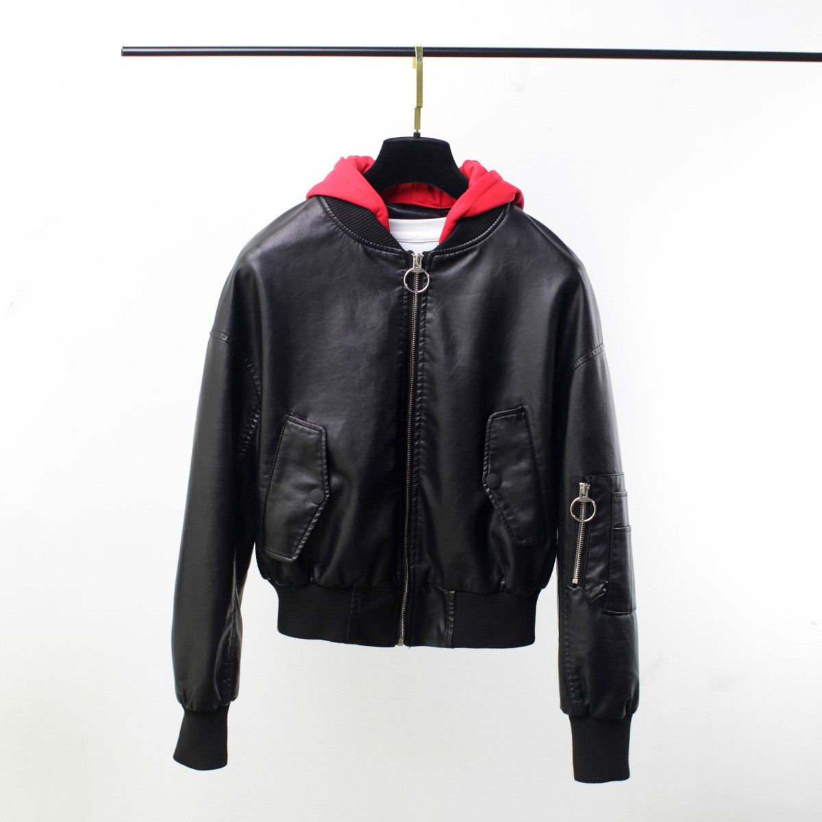 Women Spring Hooded PU Faux   Leather   Jacket Female Baseball Uniform Long Sleeve Loose Short Black Jacket Girls Motorcycle Coat