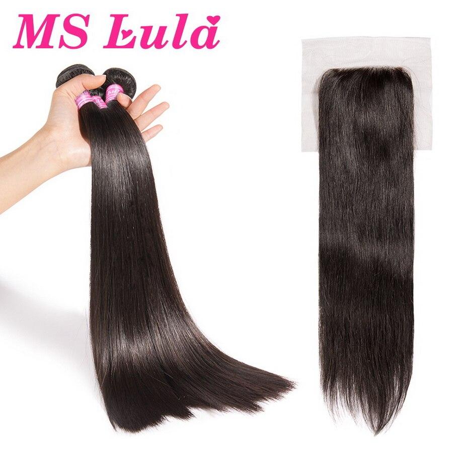 MS Lula Péruvien Cheveux Armure Droite 3 Bundles Avec 4x4 Dentelle Fermeture 100% de Cheveux Humains Bundles Naturel Couleur remy Extensions de Cheveux
