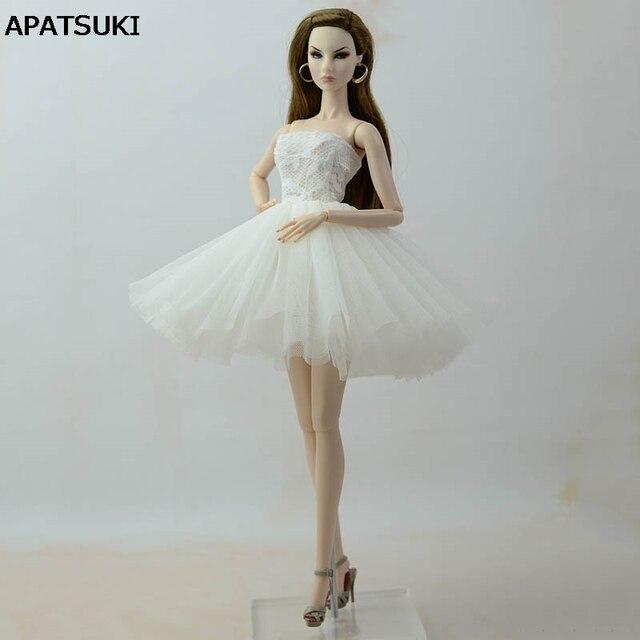 3061fd7355 Corto blanco Ballet Vestido para muñeca Barbie ropa vestidos de noche  Vestido para muñecas Barbie trajes