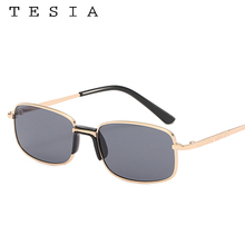 Small Gold Rectangle Sunglasses Men Women Metal Frame Tinted